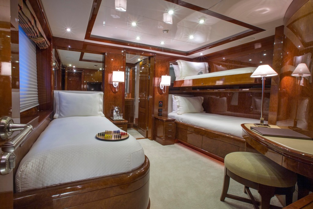 Domani Luxury Yacht Interior bedroom with bunks